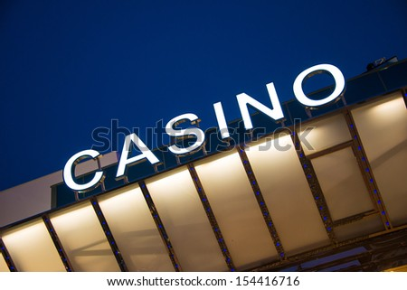 Casino entrance at evening time