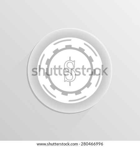 Casino gambling chips icon on a white button with shadow  - stock photo
