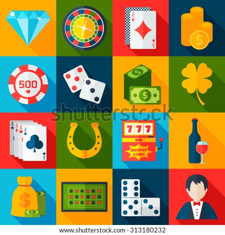Casino gambling flat icons set with horseshoe slot machine chips isolated  illustration - stock photo