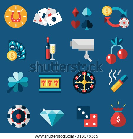 Casino game of fortune gambling and roulette icons set isolated  illustration