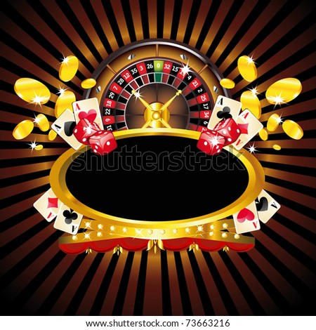 Casino gold-framed composition with roulette wheel - stock photo