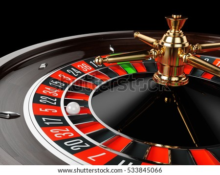 Casino gold roulette stopped close up with white ball. 3d rendering illustration