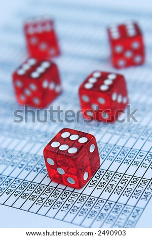Casino/poker dice & financial data - shallow depth of field, focus around closest die