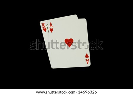 Casino Poker Playing Cards, Blackjack isolated on Black