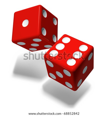 Casino red cubes - stock photo