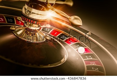 Casino Roulette Games Concept 3D Render Illustration. Vegas Gambling. Spinning Roulette Closeup. - stock photo