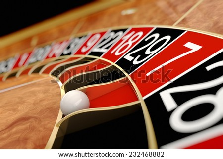 Casino roulette. Seven red - stock photo