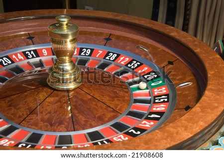 casino roulette wheel close-up - stock photo