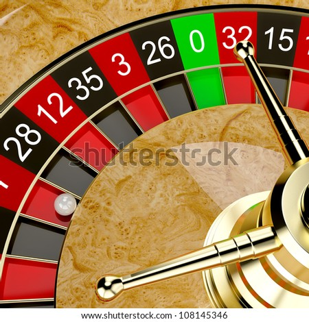 Casino roulette wheel close up. Gambling illustration concept - stock photo