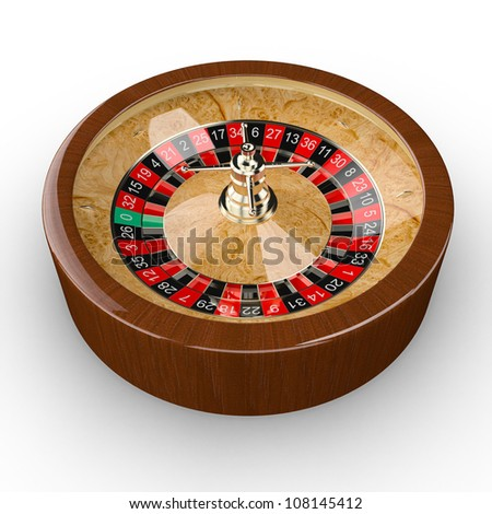 Casino roulette wheel. Isolated white background with shadow.