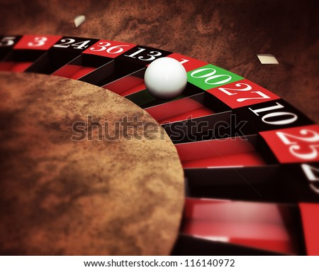casino roulette with white ball on green numbers - stock photo