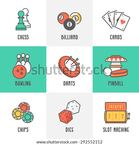 Casino Sport and Leisure Games Icons (Chess, Billiard, Poker, Darts, Bowling, Gambling Chips, Pinball, Dice and Slot Machine). Trendy Line Design with Flat Elements. Raster Copy. - stock photo