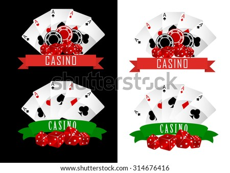 Casino symbols with decorative ribbons, gambling cards, chips and dice on black or white background - stock photo