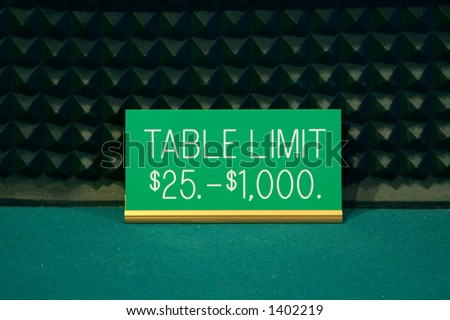 Casino table limit sign at a craps table showing a twenty-five to one thousand dollar limit - stock photo