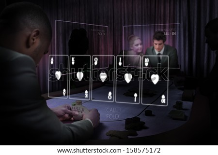 Casino white holographic card display in gambling room with purple light - stock photo