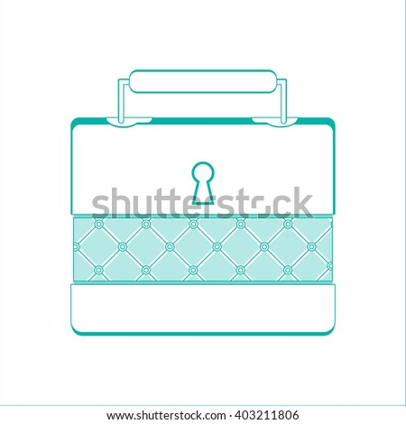 Casket for jewelry, jewelery box a object on white background, line design - stock photo