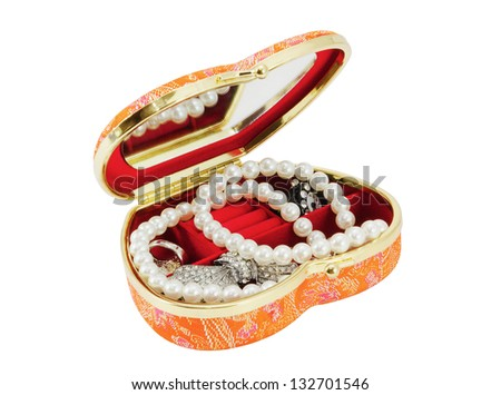 Casket with costume jewellery in the form of heart, separately on a white background - stock photo
