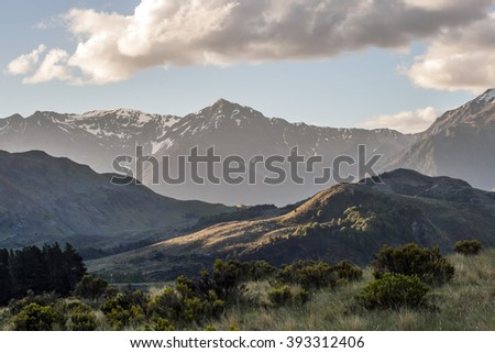 Cass Valley (New Zealand) at sunset - stock photo