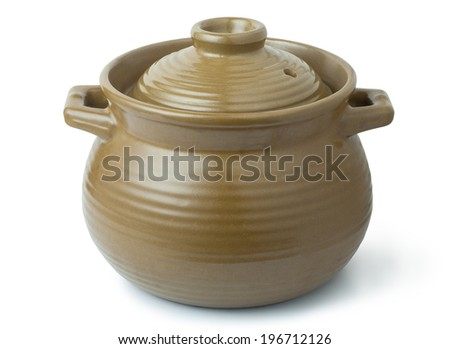 casserole dish isolated on white - stock photo
