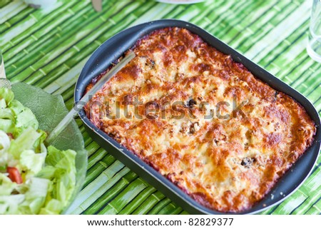 casserole with cheese - stock photo
