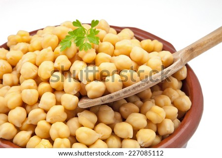 Casserole with chickpeas cooked on a white background - stock photo