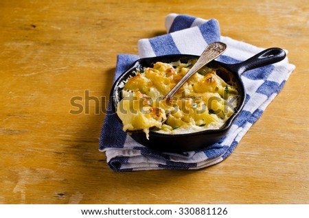 Casserole with pasta, cheese and cream. Selective focus. - stock photo