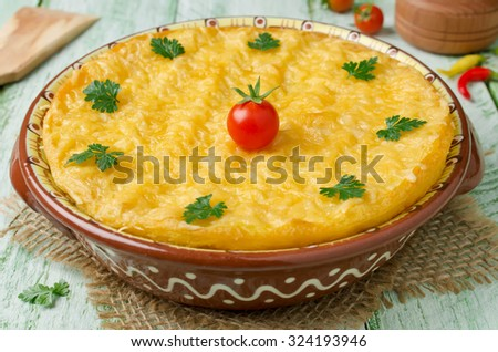 Casserole with potatoes and minced meat under a cheese crust - stock photo