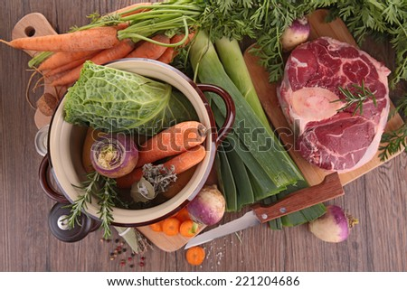 casserole with vegetable and beef - stock photo