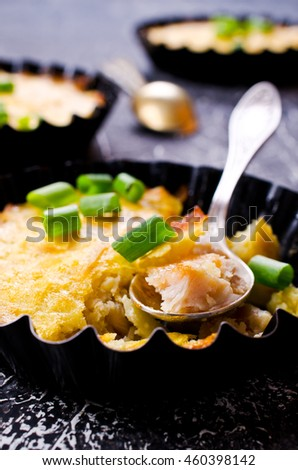 Casserole with vegetables and meat on a dark background. Selective focus.