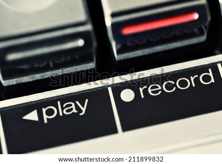 Cassette deck, play record button - stock photo
