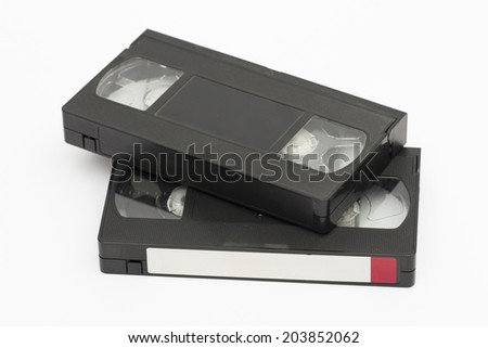 cassette on the white background - stock photo