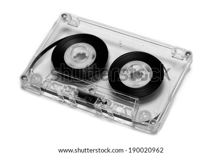 Cassette tape on white background  - stock photo