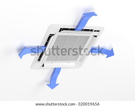 Cassette type air conditioner blowing cold air - stock photo