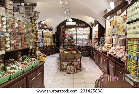 CASSIS, FRANCE - NOVEMBER 5, 2014: Grocery store - stock photo
