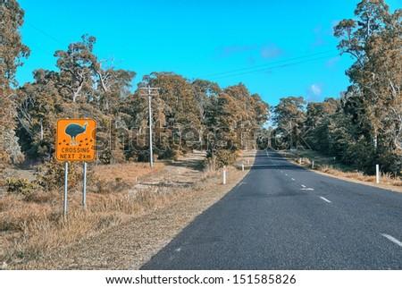 Cassowaries crossing danger sign on Queensland road. - stock photo