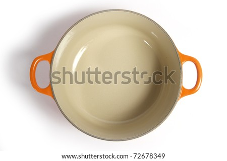 cast iron cooking pot, isolated on white. Top View. - stock photo