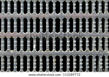 Cast Metal Grate Grid Background - stock photo