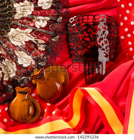 castanets fan and flamenco comb typical from Spain Espana elements - stock photo