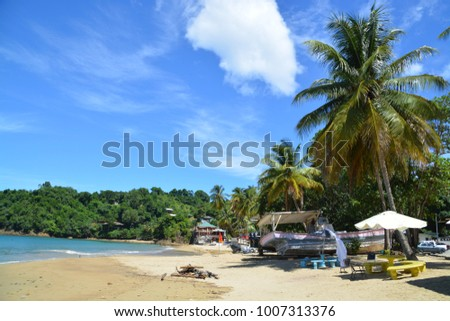 CASTARA, TOBAGO,  NOVEMBER 11, 2017. Castara, typical fishing village at Tobago, Caribbean Island,