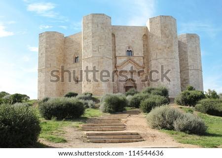 Castel del Monte - UNESCO World Heritage Site - citadel and castle in Andria, Apulia region, in the south of Italy. - stock photo