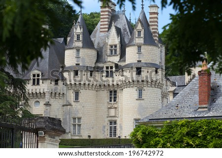 Castel of Rigny-Usse   Known as the Sleeping Beauty Castle and built in the eleventh century. Loire Valley, France - stock photo