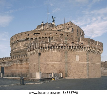 Castel Saint Angelo in Rome (Italy) with nobody around - stock photo