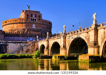 Castel Sant'Angelo and Bridge of Angles, Rome, Italy - stock photo