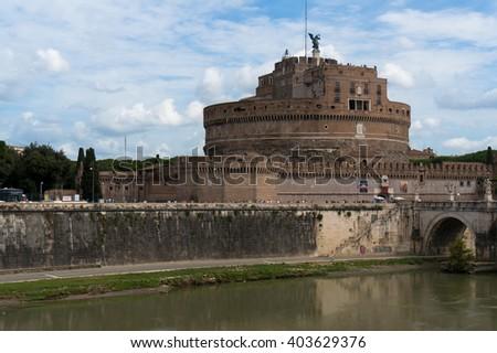 Castel Sant'Angelo and Bridge of Angles, Rome, Italy - stock photo