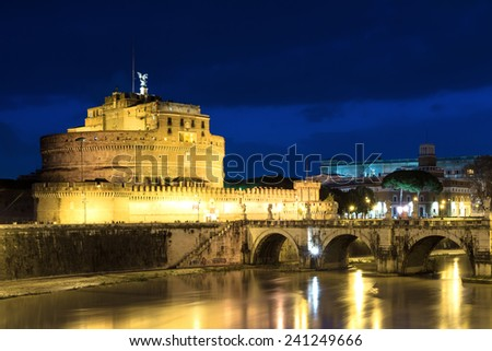 Castel Sant'Angelo at dusk, Rome, Italy - stock photo