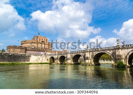 Castel Sant Angelo in a summer day in Rome, Italy - stock photo