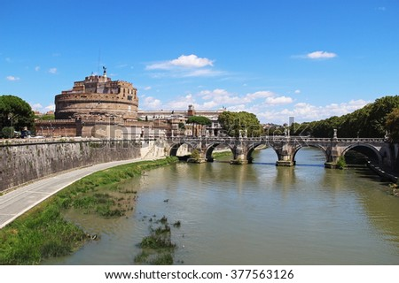 Castel Sant Angelo in a summer day in Rome, Italy, Europe - stock photo