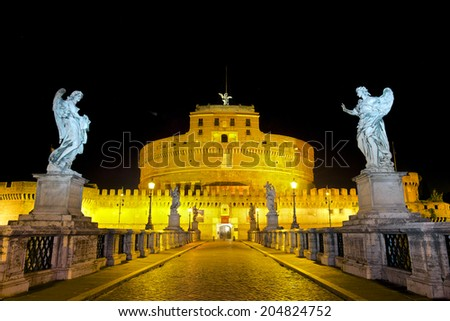 Castel Sant'Angelo, Mausoleum of Hadrian, Rome, Italy - stock photo