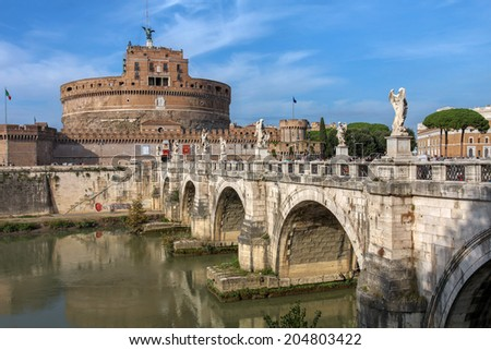 Castel Sant'Angelo (The Castle of the Holy Angel or Mausoleum of Hadrian) in Rome, Italy. - stock photo
