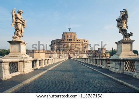 Castel Santangelo fortress and bridge view in Rome, Italy. - stock photo